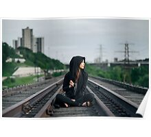 woman sitting on train tracks Poster
