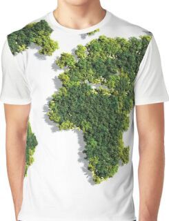 World Map made of green trees Graphic T-Shirt
