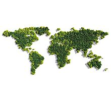 World Map made of green trees Photographic Print