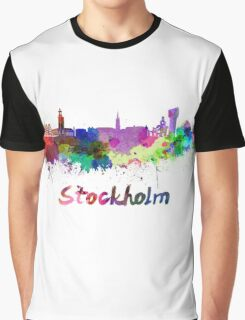 Stockholm skyline in watercolor Graphic T-Shirt