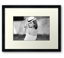 Portrait of beautiful blond woman in white retro hat Framed Print
