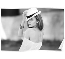 Portrait of beautiful blond woman in white retro hat Poster