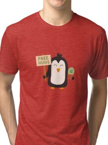 Penguin with Cactus   Tri-blend T-Shirt