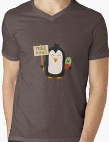 Penguin with Cactus   Mens V-Neck T-Shirt