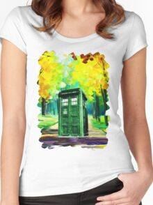 Tardis Art Paint Women's Fitted Scoop T-Shirt