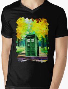Tardis Art Paint Mens V-Neck T-Shirt