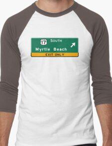 Myrtle Beach, Road Sign, SC Men's Baseball ¾ T-Shirt