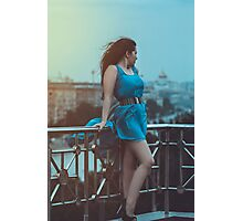 girl in blue dress Photographic Print