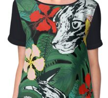 Tropical paradise. Exotic flowers. Jungle. Chiffon Top