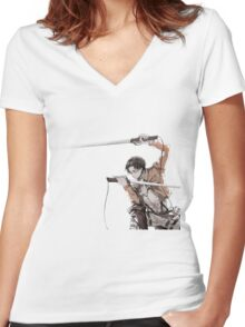 Attack on Titan Levi Women's Fitted V-Neck T-Shirt