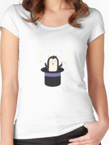 Penguin magician   Women's Fitted Scoop T-Shirt