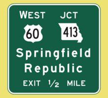Springfield, Road Sign, MO Baby Tee