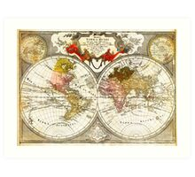 Map of the World on a Hemisphere Projection Art Print