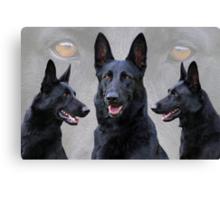 Black German Shepherd Collage Canvas Print
