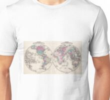 Vintage Map of The World (1866) Unisex T-Shirt