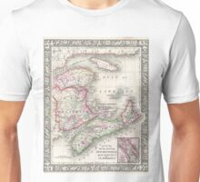 Vintage Nova Scotia and New Brunswick Map (1866) Unisex T-Shirt