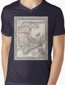 Vintage Nova Scotia and New Brunswick Map (1866) Mens V-Neck T-Shirt