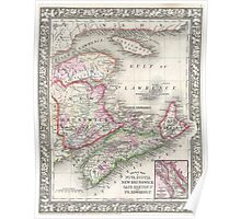 Vintage Nova Scotia and New Brunswick Map (1866) Poster