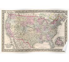 Vintage Map of The United States (1866) Poster