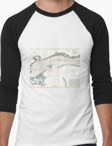 Vintage Map of The Mississippi Sound (1866) Men's Baseball ¾ T-Shirt