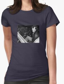 Amelia Earhart Sitting In Airplane Cockpit Womens Fitted T-Shirt