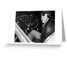 Amelia Earhart Sitting In Airplane Cockpit Greeting Card