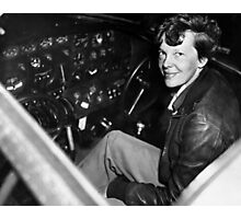 Amelia Earhart Sitting In Airplane Cockpit Photographic Print