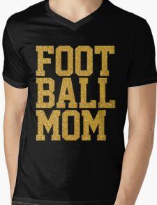 Football Mom Gold Sequins Black Mens V-Neck T-Shirt