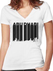 Retro Abu Dhabi Skyline Women's Fitted V-Neck T-Shirt