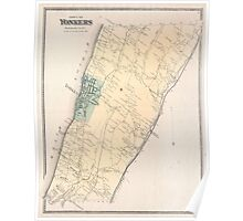 Vintage Map of Yonkers New York (1867) Poster