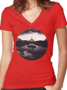 Landing on Zebes A Metroid Surrealism Women's Fitted V-Neck T-Shirt