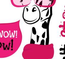 head of a giraffe in glasses and scarf Sticker