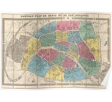 Vintage Map of Paris France (1863) Poster
