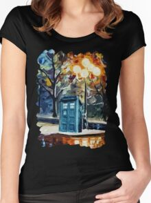 Tardis Painting Women's Fitted Scoop T-Shirt