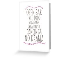 Funny Bridesmaid Card Greeting Card