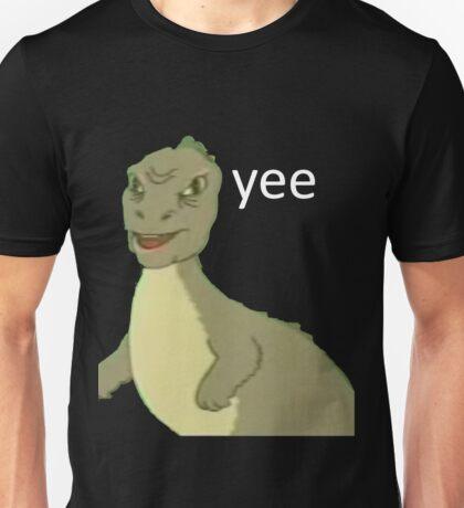 Yee [dinosaur maym :^)] (version 1, video quality, white text) Unisex T-Shirt