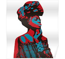 African woman red & blue Poster