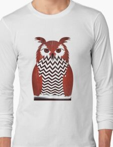 Owl Black Lodge Red White Twin Peaks Inspired Red Room Long Sleeve T-Shirt