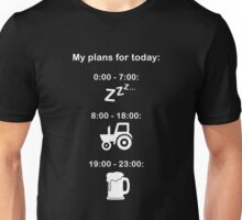 Plans for today - White text Unisex T-Shirt