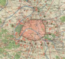 Vintage Map of the Paris France Vicinity (1870) Sticker