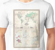 Vintage Physical & Climate Map of The World (1870) Unisex T-Shirt