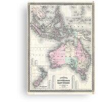 Vintage Australia & Southeastern Asia Map (1870) Canvas Print
