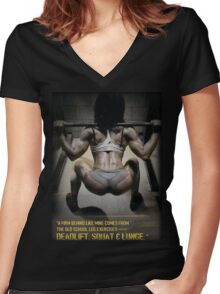 Firm Behind - Squat, Deadlift, Lunge Women's Fitted V-Neck T-Shirt