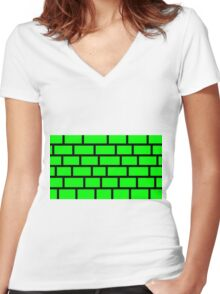 Green Brick - Black Lines Women's Fitted V-Neck T-Shirt