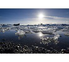 Melting ice in Jokulsarlon glacier lagoon, Iceland Photographic Print