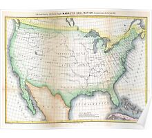 Vintage United States Magnetic Declination Map Poster