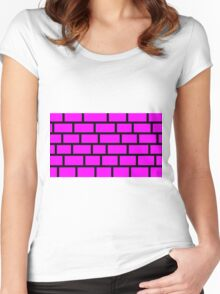 Pink Brick - Black Lines Women's Fitted Scoop T-Shirt