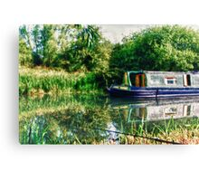 Narrowboat on the River Canvas Print