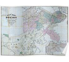 Vintage Map of Boston Massachusetts (1870) Poster