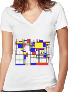 LARGE MONDRIAN Women's Fitted V-Neck T-Shirt